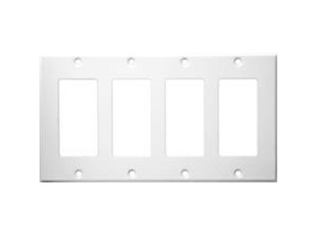 Morris Products 83142 Stainless Steel Metal Wall Plates 4 Gang Decorator - GFCI White