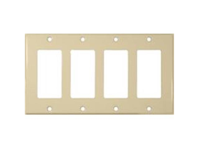 Morris Products 83143 Stainless Steel Metal Wall Plates 4 Gang Decorator - GFCI Ivory