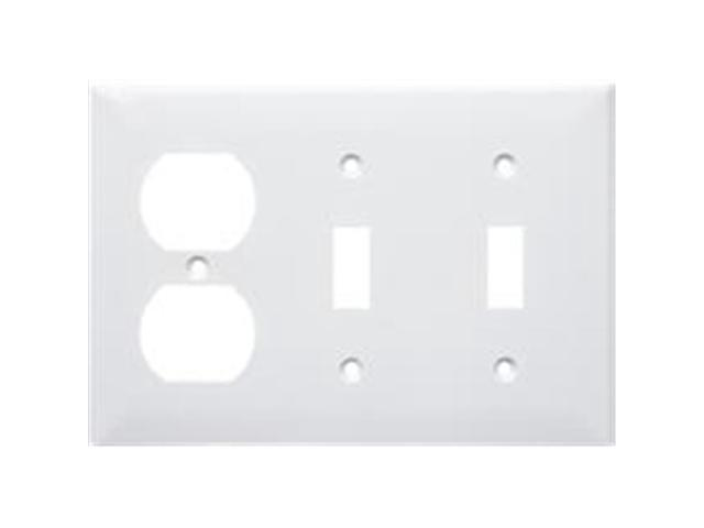Morris Products 81261 Lexan Wall Plates 3 Gang 1Duplex 2 Toggle White
