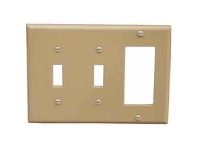 Morris Products 81310 Lexan Wall Plates 3 Gang 2 Toggle 1GFCI Ivory