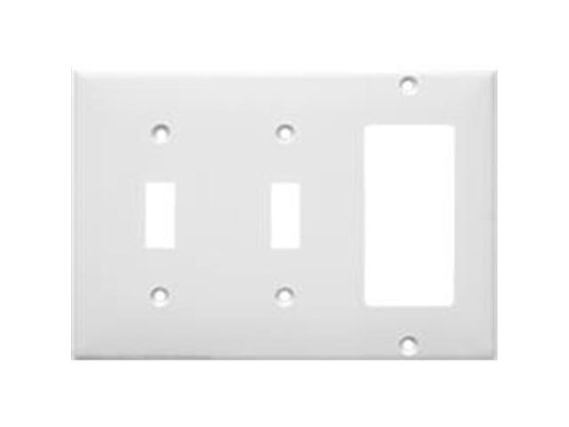 Morris Products 81311 Lexan Wall Plates 3 Gang 2 Toggle 1GFCI White