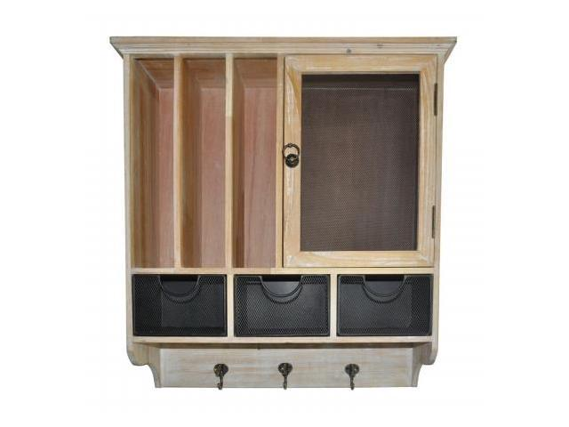 Cheung's FP-3776NW Shabby White Wooden Wall cabinet with 1 Door, 2 Compartment Slots, 3 Drawers and 3 Hooks