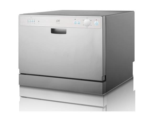 SUNPENTOWN SD-2202S SPT 6 Place Setting Silver Countertop Dishwasher with Delay Start