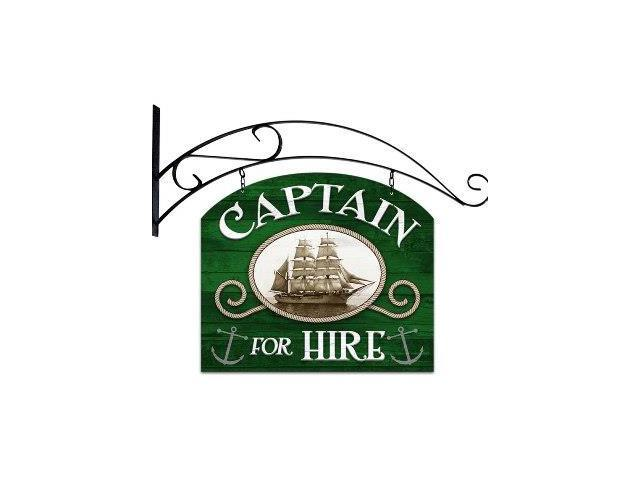 Past Time Signs PS154 Captain For Hire Bar And Alcohol Double Sided Custom Metal Shape With Wall Mount