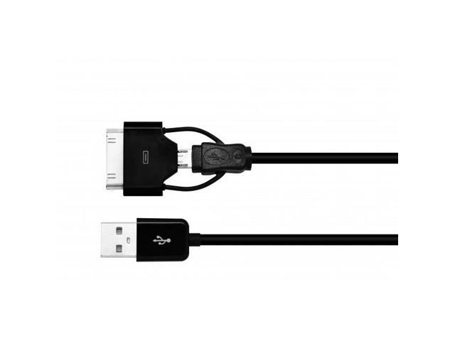 GrandMax M30P-BK MFI PiggyBack 2-in-1 30-pin Micro USB Combo Cable for Apple & Android, Black