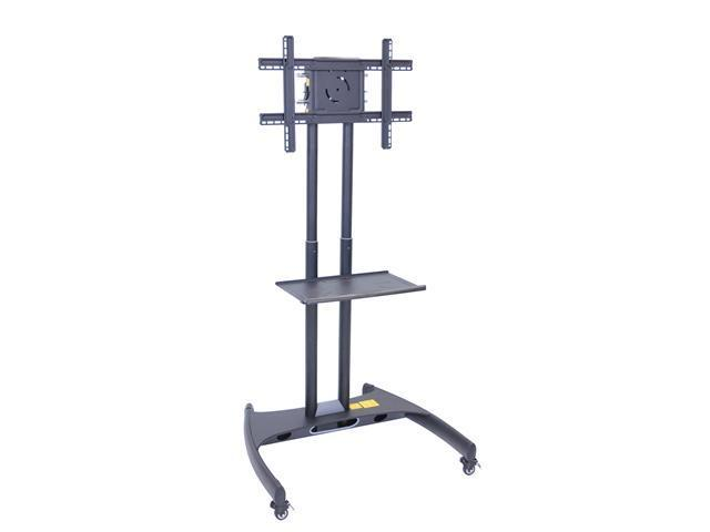 H Wilson Portable Adjustable Flat Panel LED LCD Multimedia Monitor Mount TV Stand Cart With Shelf Black