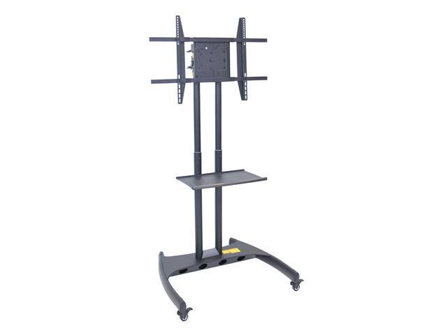 H Wilson Mobile Height Adjustable Rotating Flat Panel Cart For 32 - 60 LED / LCD TV With Locks Gray