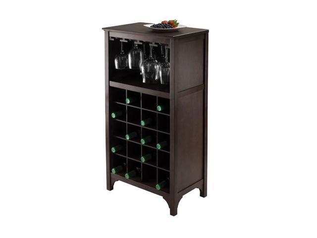 Winsome Ancona Modular Wine Storage Cabinet With Glass Hanger - Holds 20 Bottles
