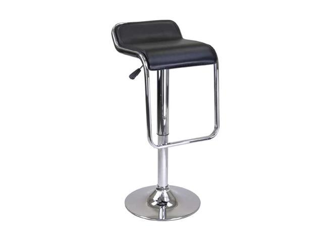 Winsome Oslo Adjustable Air Lift Stool Backless Chrome Frame Footrest In Black