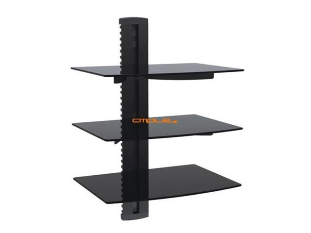 Cmple 3 - Shelf Economy Aluminum and Tempered Glass Mount For DVD/AV Device (Max 17.6Lbs)