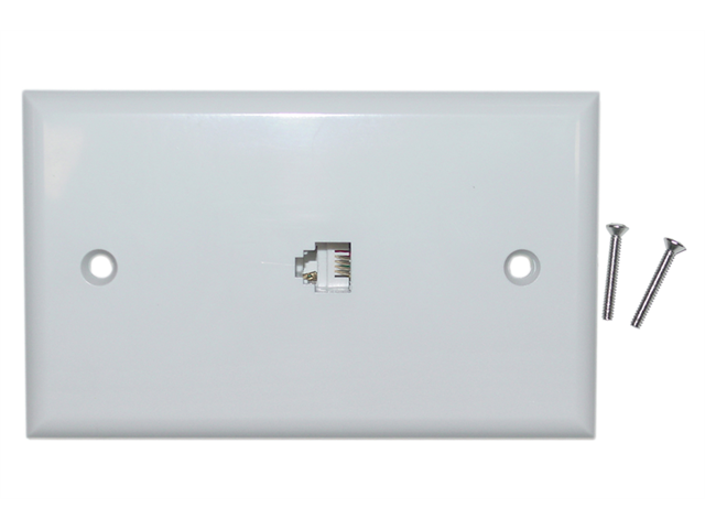 Cable Wholesale Telephone Wall Plate RJ11 4C White Smooth