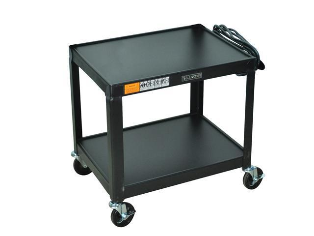 Luxor 2 Steel Shelf Fixed Height Multipurpose Mobile Rolling Av Table Cart Black with 3 Electric Outlet