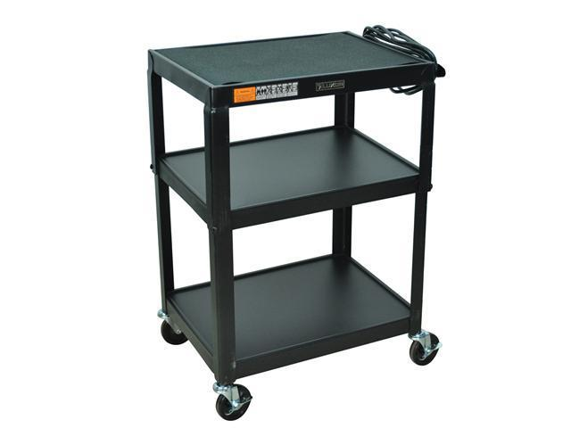 Luxor 2 Steel Shelf Fixed Height Multipurpose Mobile Rolling Av Table Cart Black with 3 Electric Outlet 34
