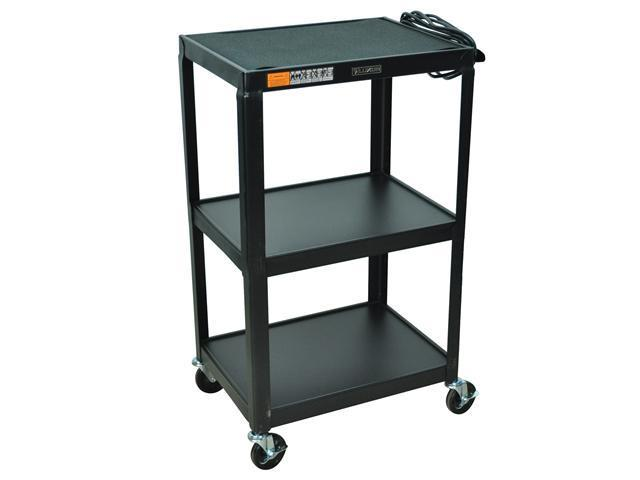 Luxor 2 Steel Shelf Fixed Height Multipurpose Mobile Rolling Av Table Cart Black with 3 Electric Outlet 42