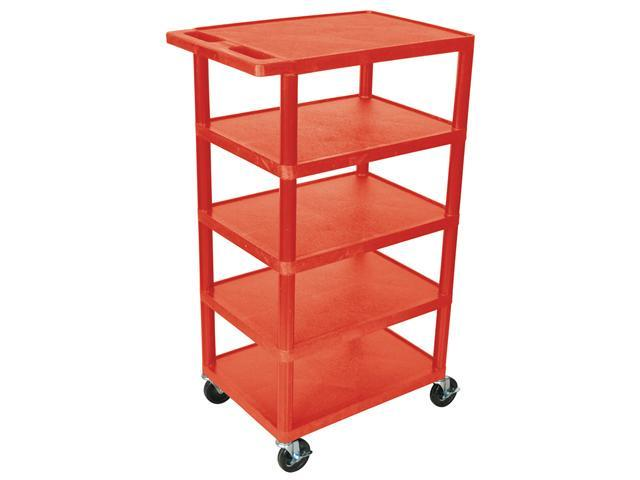 Luxor 5 Shelf Multipurpose Mobile Rolling Kitchen Hotel Banquet Utility Service Cart Red 24W x 46H