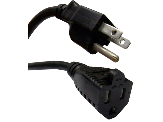Cable Wholesale Power Extension Cord, Black, NEMA 5-15P to NEMA 5-15R, 10 Amp, UL / CSA rated, 3 foot