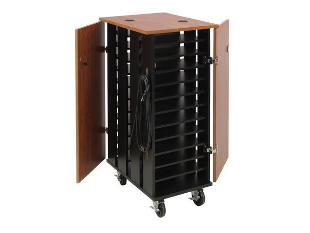 Oklahoma Sound Floor Standing Tablet Charging Storage Cart Workstation Cabinet Cherry and Black