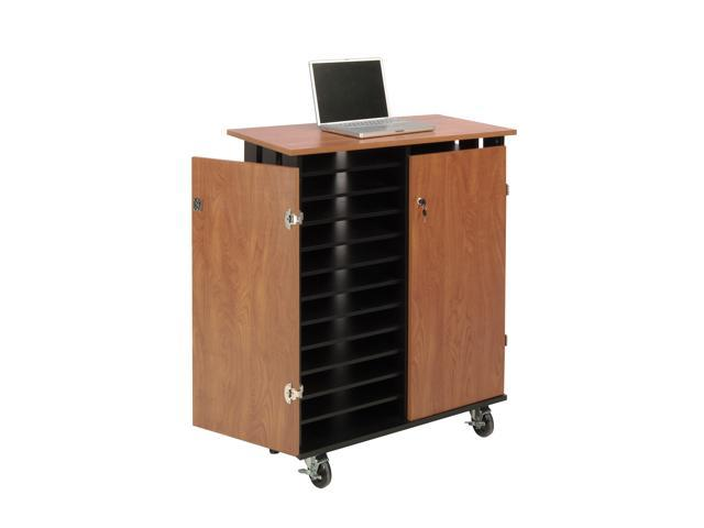Oklahoma Sound Floor Standing Laptop Charging Storage Cart Workstation Cabinet Cherry and Black