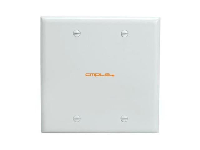 Offex Blank 2 Gang Thermoplastic Panel Wall Plate (GFCI), White