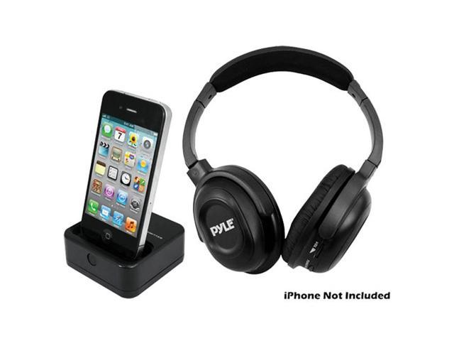 PyleHome UHF Wireless Headphones with iPhone iPod Dock Transmitter and Aux Input