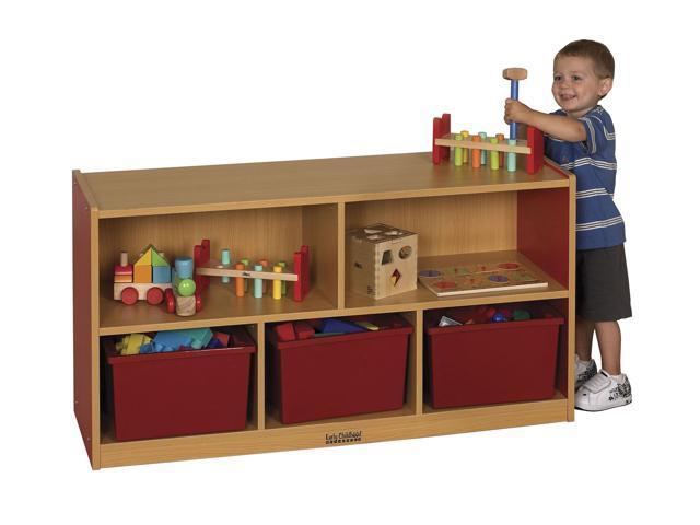 ECR4Kids Kids Toys Books 24 H Colorful Essentials Storage Cabinet Blue - 5 Comp