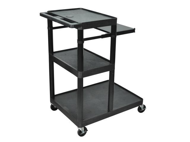 Luxor Rolling Multimedia Presentation AV Media Cart With Pullout Tray 3 Plastic Shelves Black