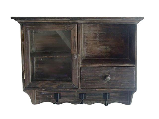 Cheungs Home Decor Wall Cabinet W/ 2 Shelves Behind Glass Door, 1 Open Shelf, 1 Drawer, 3 Hooks