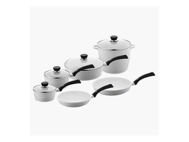 Berndes Home Kitchen SignoCast Pearl 10 pcs Cast Aluminum Ceramic Coated Cookware Set