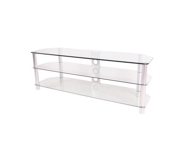 RTA Home and Office 60 Inch Tempered Glass and Aluminum TV Stand with Wire management