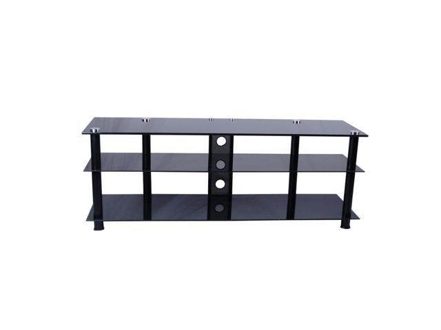 RTA Home And Office Tier One Designs 60 Inch Black Glass And Aluminum Tv Stand With Wire Management