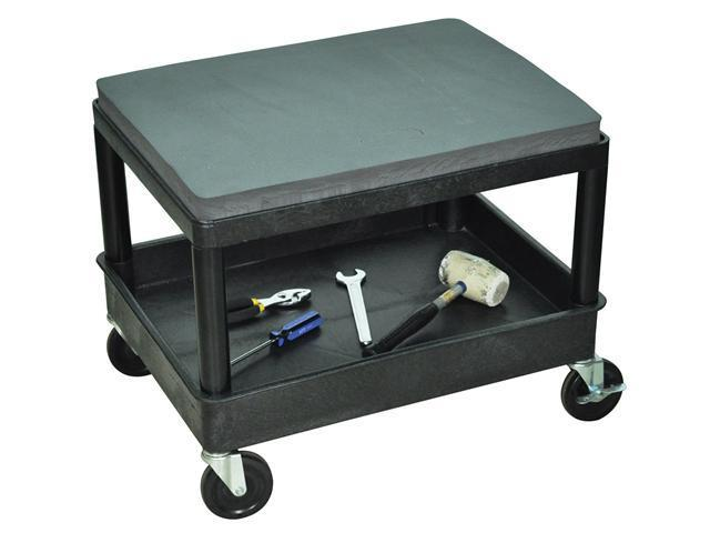 Luxor Tub Shelf Mobile Rolling Mechanics Cushion Seat Storage Utility Cart - Black
