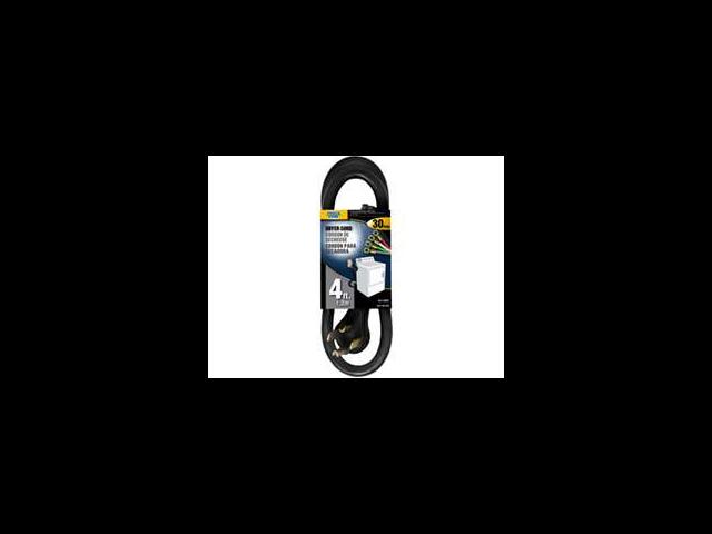 Power Zone ORD100404 Dryer Cord 10/4 Srdt Black 4-Foot Indoor - 4 Conductor - Ea