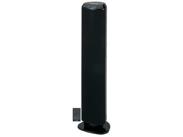 JENSEN SMPS1000 Bluetooth Wireless Tower Speaker with RCA Input Jack, Digital Clock, FM Stereo Radio, Aux In, SubwooEach