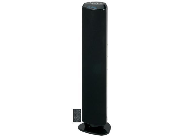 JENSEN SMPS1000 Bluetooth Wireless Tower Speaker with RCA Input Jack, Digital Clock, FM Stereo Radio, Aux In, Subwoo