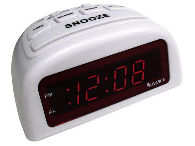 Geneva Clock Company 3137AT 0.6-Inch LED Digital Alarm Clock, White