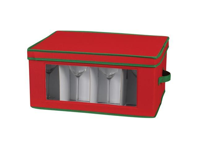 Household Essentials 540RED Holiday Stemware Chest/Goblet Red with Green trim