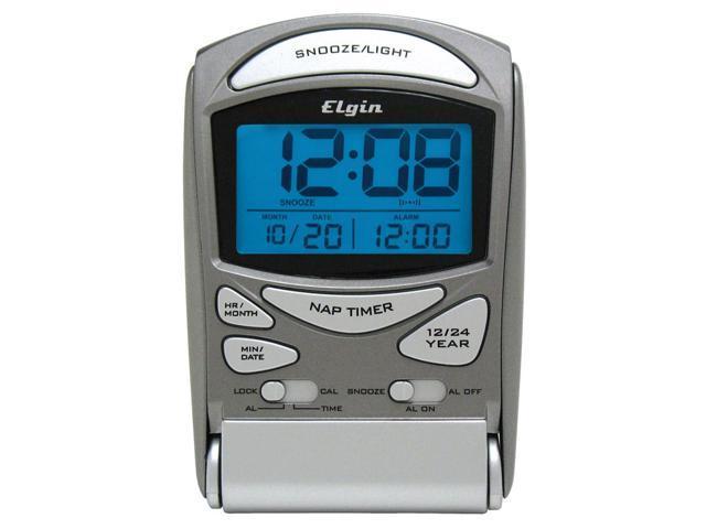 Geneva Clock Company 3400E Silver LED Travel Alarm Clock