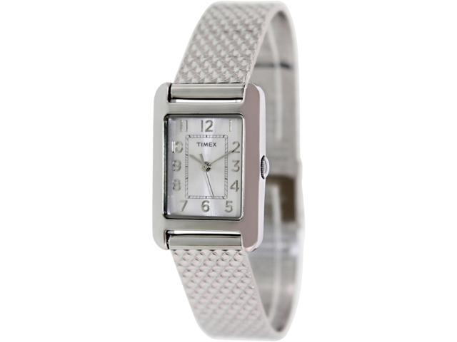 Timex Women's Dress Wrist Watch Silver-Tone Case & Dial Quartz Movement T2P303