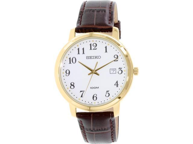 Seiko Men's SUR114 Brown Leather Quartz Watch