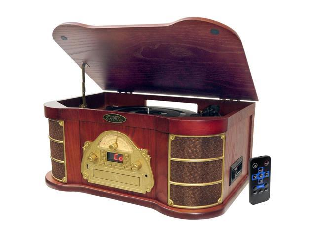 Pyle Classical Turntable with AM/FM Radio CD/Cassette & USB Recording