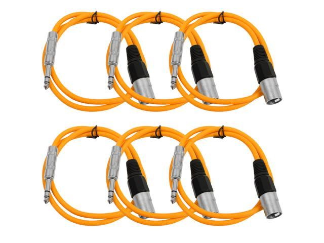 Seismic Audio - 6 Pack of Orange 2 foot XLR Male to TRS Male Patch Cables - Snake Microphone Cord