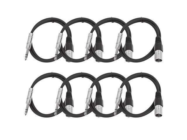 Seismic Audio - 8 Pack of Black 2 foot XLR Male to TRS Male Patch Cables - Snake Microphone Cord