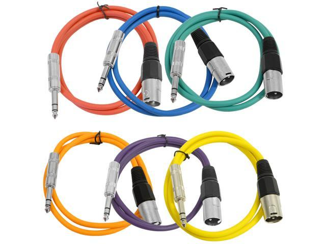 Seismic Audio - 6 Pack of Colored 2 foot XLR Male to TRS Male Patch Cables - Snake Microphone Cord