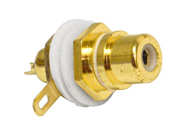 Seismic Audio - SAPT230 - RCA Gold Plated Chassis Mount Connector - White Pro Audio