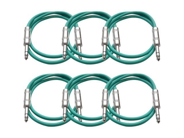 Seismic Audio - 6 Pack of Green 2 foot TRS to TRS Patch Cables - Snake Microphone Cord
