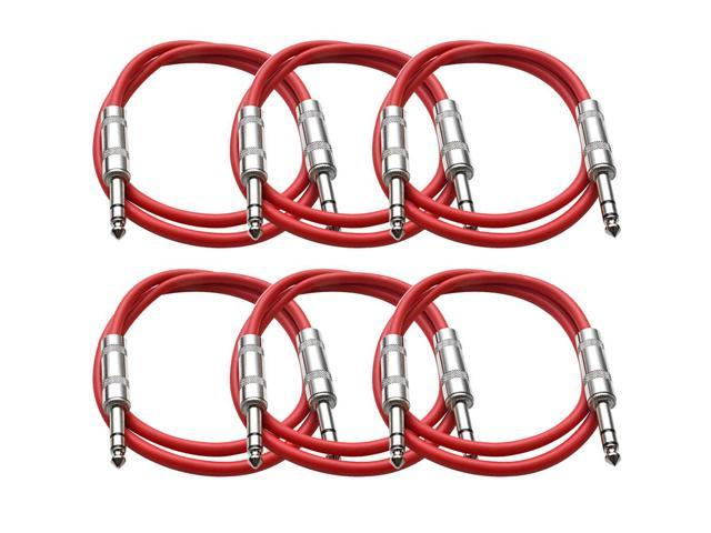 Seismic Audio - 6 Pack of Red 2 foot TRS to TRS Patch Cables - Snake Microphone Cord