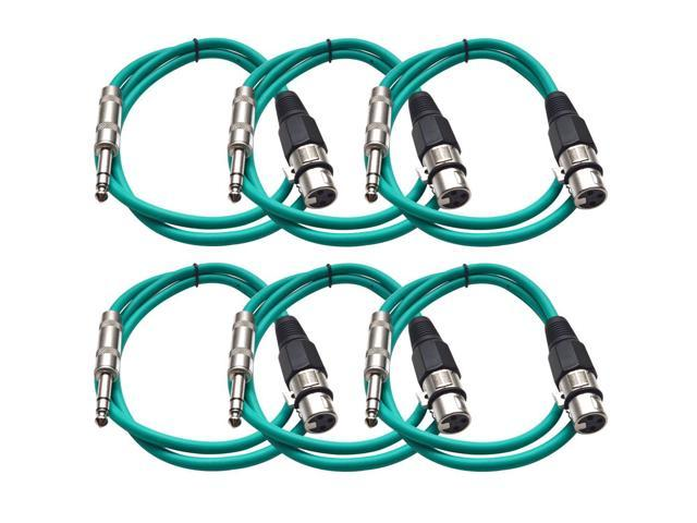Seismic Audio - 6 Pack of Green 2 foot XLR Female to TRS Male Patch Cables - Snake Microphone Cord