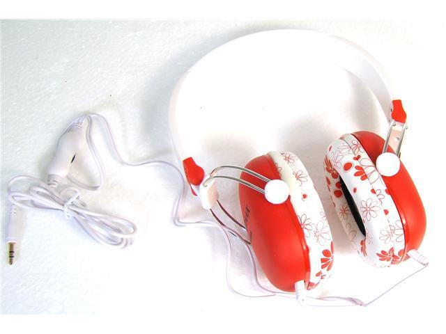 BadAax HP2134V Red Stereo Headphones