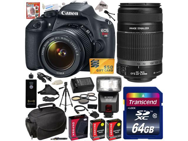 Canon EOS Rebel T5 1200D 18-55 + 55-250 Lens SLR Digital Camera (Pro Bundle Kit) 9126B003 (64GB SD Card + SD Reader + Soft Case ...