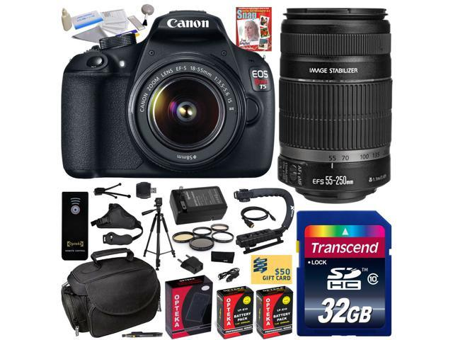 Canon EOS Rebel T5 1200D 18-55 + 55-250 Lens SLR Digital Camera (Must Have Kit) 9126B003 (32GB + SD Reader + 2X Battery + Charger ...